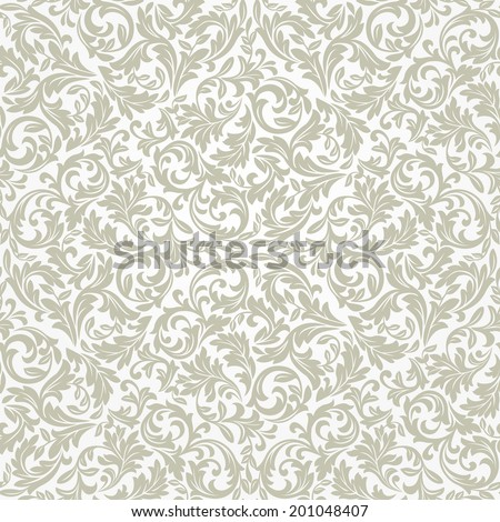 Wallpaper in the style of Baroque. Seamless background. Gray and white texture.