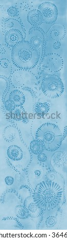 Wallpaper on silk. Decorative composition of flowers and leaves and dots.