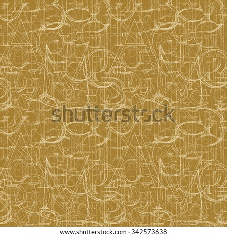 Wallpaper seamless pattern with Modern Roman Classic Alphabet with a Method of Geometrical Construction for Large Letters. Hand drawn construction sketch of ABC letters in old fashion vintage style.  - stock photo