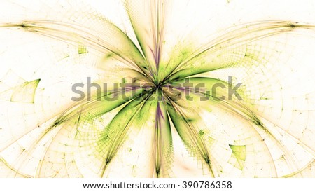 Wallpaper with a large abstract space flower in the center and decorative geometric pattern, all in pastel sepia tinted yellow,green,pink