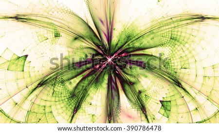 Wallpaper with a large abstract space flower in the center and decorative geometric pattern, all in dark vivid sepia tinted green,yellow,pink