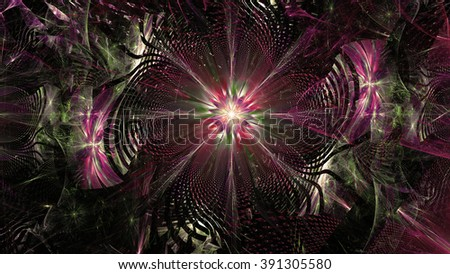 Wallpaper with a large abstract space flower in the center of a decorative storm-like vortex, all in high resolution and shining sepia tinted pink,green