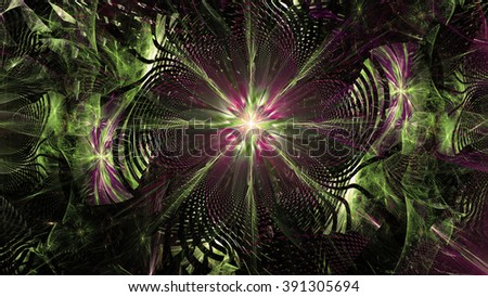 Wallpaper with a large abstract space flower in the center of a decorative storm-like vortex, all in high resolution and shining pink,purple,green