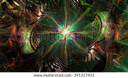 Wallpaper with a large abstract space flower in the center of a decorative storm-like vortex, all in high resolution and shining  green,cyan,pink