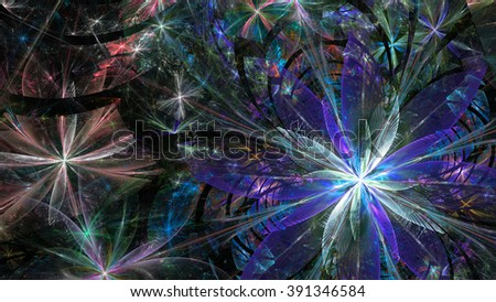 Wallpaper with a large abstract space flower surrounded with a detailed decorative pattern, all in high resolution and shining purple,pink,green