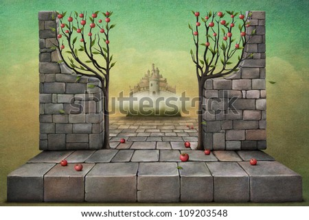 Wallpaper with a symbolic entrance to the garden or paradise. - stock photo