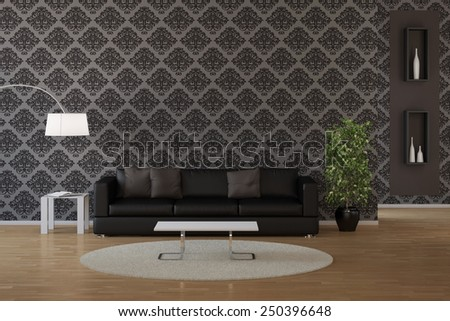 Wallpaper with classic dark floral pattern in a living room (3D Rendering) - stock photo