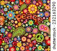 Wallpaper with hippie symbolic. Raster copy - stock photo