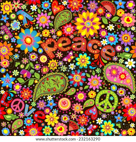 Wallpaper with hippie symbolic. Raster copy - stock photo