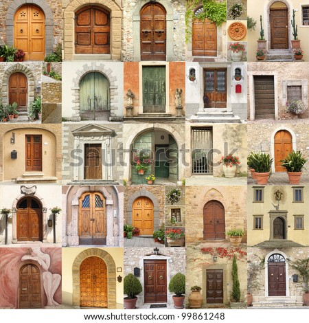 wallpaper with vintage doors in Italy - stock photo