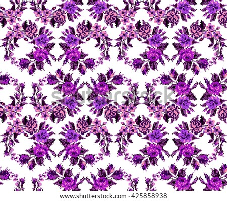 Wallpapers or textile. Color circle  bouquet of flowers (roses, chamomile and cornflowers) using Ukrainian embroidery elements.Violet and pink tones. Seamless. Pattern. Can be used as pixel-art. - stock photo