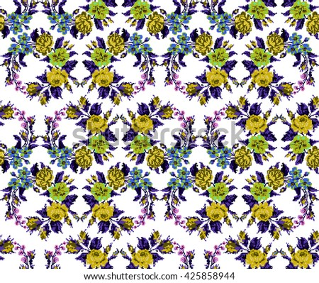 Wallpapers or textile. Color circle  bouquet of flowers (roses, chamomile and cornflowers) using Ukrainian embroidery elements.  Yellow, blue, green and violet tones. Seamless. Pattern. Pixel-art. - stock photo