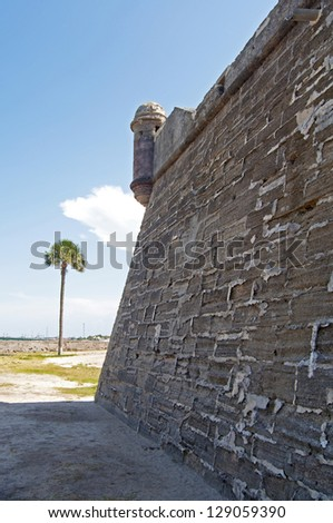 Walls and field of the Castillo de San Marcos fort in St. Augustine, Florida. - stock photo