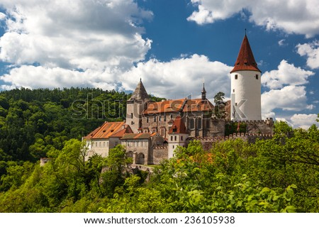 Walls and fortification of Krivoklat castle in the Czech republic, Central Europe - stock photo