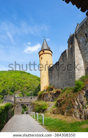 Walls and towers of beautiful Vianden castle on the north of Luxembourg - stock photo