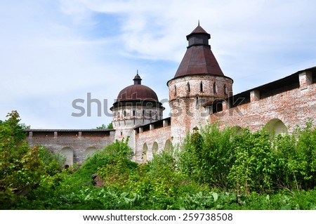 Walls and towers of Boris and Gleb Monastery, Yaroslavl' region, Russia. Built in XV century
