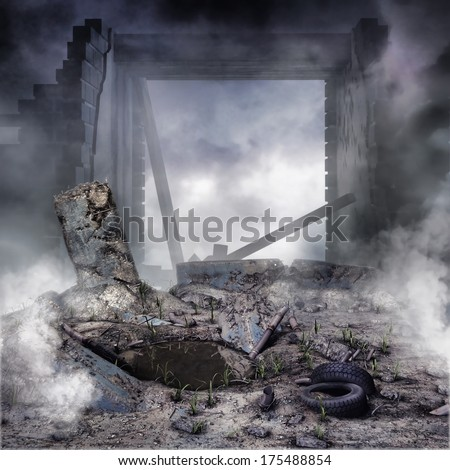 Walls of a ruined building and rubble  - stock photo