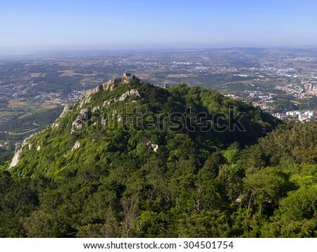Walls of Castle of Sintra, or Castelo dos Mouros or Moorish Castle, Sintra, Portugal - stock photo