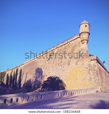 Walls of Es Baluard in Palma de Mallorca, Balearic Islands, Spain - stock photo