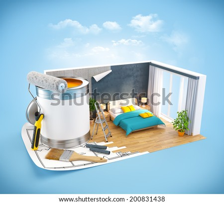 Walls of modern bedroom on a plan. Interior design concept - stock photo