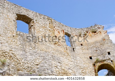 Walls of Spissky Hrad castle - Slovakia - stock photo