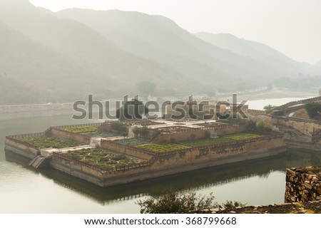 Walls of the Amer Fort (Amber Fort and Amber Palace), a town near Jaipur, Rajasthan state, India. UNESCO World Heritage Site as part of the group Hill Forts of Rajasthan. - stock photo