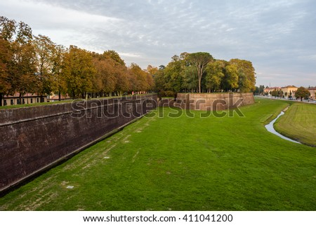 Walls of the city of Lucca in Tuscany, Italy