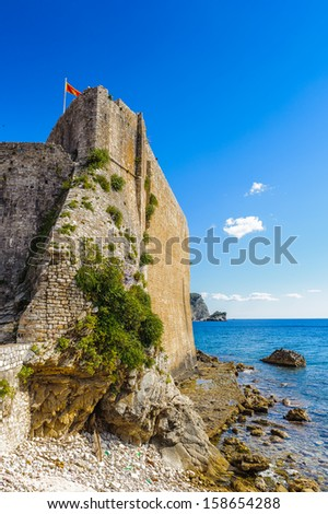 Walls of the Old Town of Budva and the Adriatic Ocean