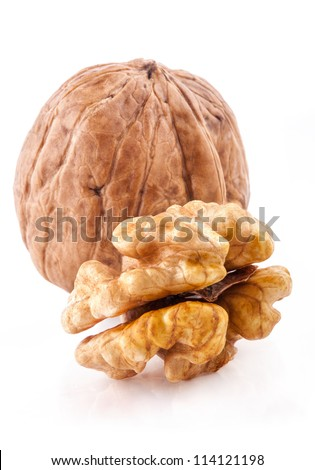 Walnut and a Kernel isolated on the white background, closeup - stock photo