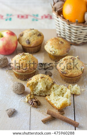 Walnut and cinnamon muffins, presented on a wooden board, specially prepared for Christmas carolers during Christmas Eve.