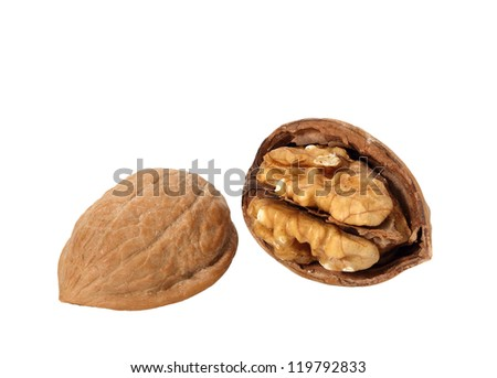 Walnut Cracked Open in Shell isolated on white