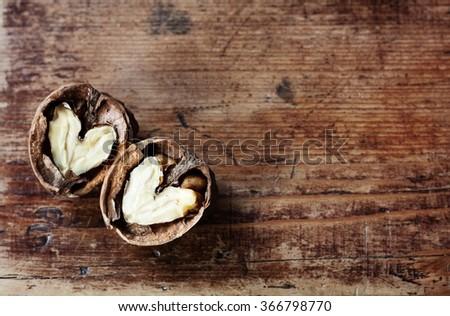 walnut heart - stock photo