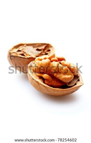 Walnut on isolated white background - stock photo