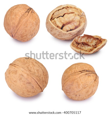 Walnut set and a cracked walnut isolated on the white background. Clipping Path