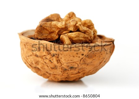 Walnut side view isolated on white - stock photo