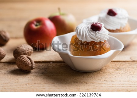 Walnut stuffed apples or tufahije, Bosnian dessert - stock photo