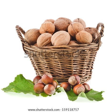 walnuts and hazelnut filbert in basket isolated on white background