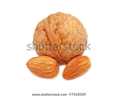Walnuts are isolated on a white background