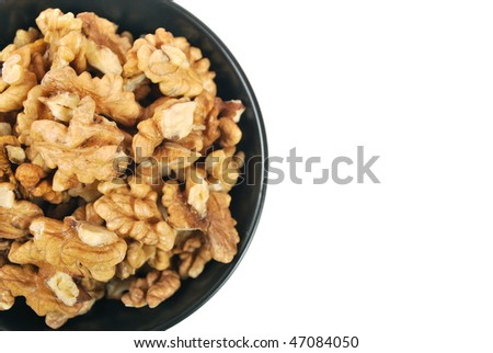 Walnuts in black plate