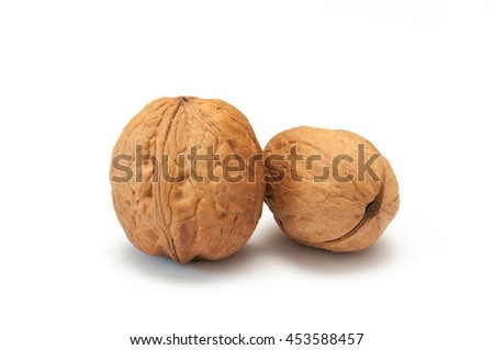 Walnuts isolated in white background.