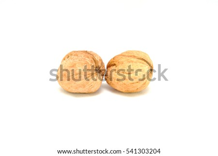 Walnuts on a white background close up