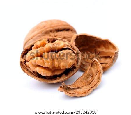 Walnuts on white background.  - stock photo