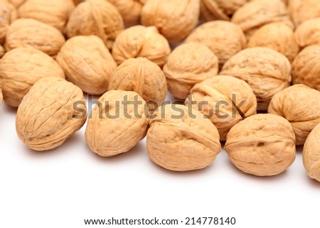 Walnuts on white background. Close-up.