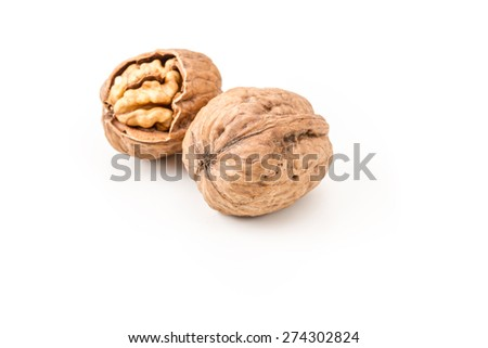 walnuts on white background isolated - stock photo
