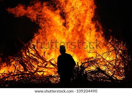Walpurgis Night bonfire in Sweden - stock photo