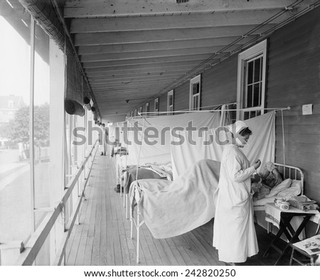 Walter Reed Hospital flu ward during the Spanish Flu epidemic of 1918-19, in Washington DC. The pandemic killed an estimated 25,000,000 persons throughout the world. - stock photo