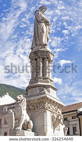 Walther Square in Bolzano / Bozen, Italy, monument of Walther von der Vogelweide