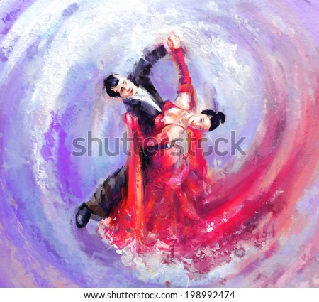 waltz dancers digital painting/waltz dancers - stock photo