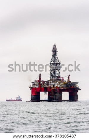 WALVIS BAY, NAMIBIA - JAN 7, 2016: Oil Driling Platform at the  Walvis Bay, The English referred to it English as Whale Bay.