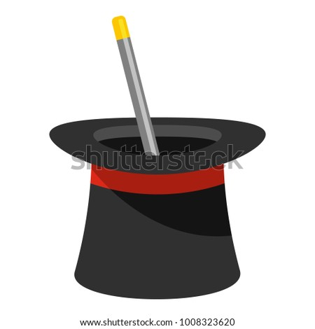 Wand in hat icon. Cartoon illustration of wand in hat  icon for web.